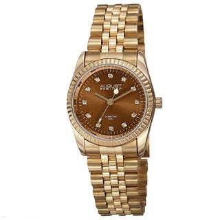 August Steiner Women's Quartz Diamond Markers Stainless Steel Gold-Tone Bracelet Watch