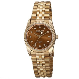 August Steiner Women's Quartz Diamond Markers Stainless Steel Gold-Tone Bracelet Watch with FREE Bangle