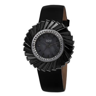 Burgi Women's Dazzling Swiss Quartz Mother of Pearl Dial Leather Black Strap Watch