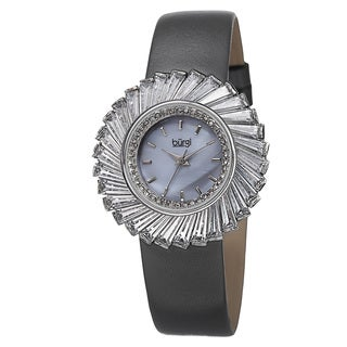 Burgi Women's Dazzling Swiss Quartz Mother of Pearl Dial Leather Grey Strap Watch