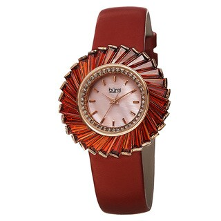 Burgi Women's Dazzling Swiss Quartz Mother of Pearl Dial Leather Red Strap Watch
