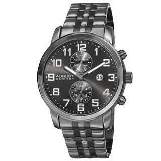August Steiner Men's Swiss Quartz Multifunction Dual-Time Stainless Steel Black Bracelet Watch