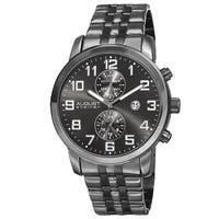 August Steiner Men's Swiss Quartz Multifunction Dual-Time Stainless Steel Black Bracelet Watch