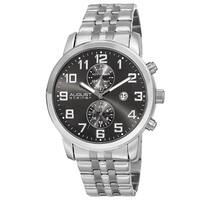 August Steiner Men's Swiss Quartz Multifunction Dual-Time Stainless Steel Silver-Tone Bracelet Watch