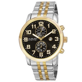 August Steiner Men's Swiss Quartz Multifunction Dual-Time Stainless Steel Two-Tone Bracelet Watch