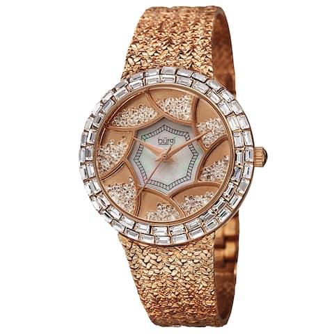 Burgi Women's Floating Crystals Quartz Brass Rose-Tone Bracelet Watch