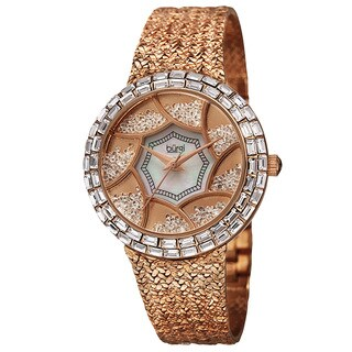 Burgi Women's Floating Crystals Quartz Brass Rose-Tone Bracelet Watch with FREE GIFT
