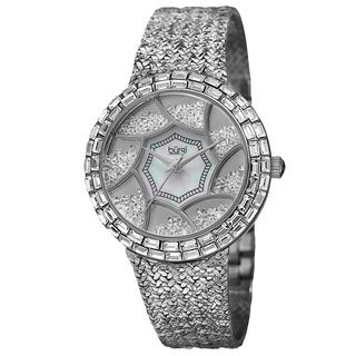 Burgi Women's Floating Crystals Quartz Brass Silver-Tone Bracelet Watch with FREE GIFT