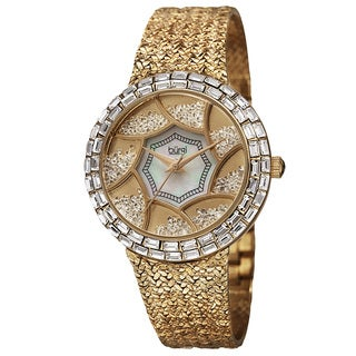 Burgi Women's Floating Crystals Quartz Brass Gold-Tone Bracelet Watch with FREE GIFT