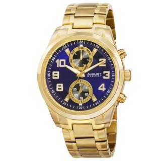 August Steiner Men's Quartz Multifunction Stainless Steel Gold-Tone Bracelet Watch