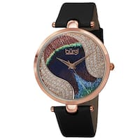 Burgi Women's Swiss Quartz Swarovski Elements Crystals Colorful Dial Leather Black Strap Watch