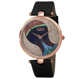Burgi Women's Swiss Quartz Swarovski Crystals Colorful Dial Leather Black Strap Watch with FREE Bangle