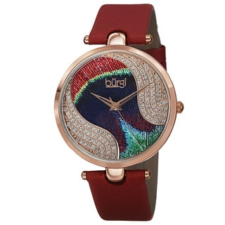 Burgi Women's Swiss Quartz Swarovski Crystals Colorful Dial Leather Red Strap Watch