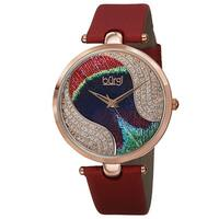 Burgi Women's Swiss Quartz Swarovski Elements Crystals Colorful Dial Leather Red Strap Watch