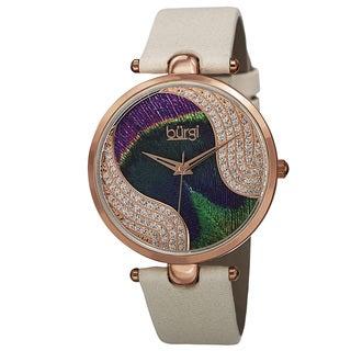 Burgi Women's Swiss Quartz Swarovski Crystals Colorful Dial Leather White Strap Watch with FREE Bangle