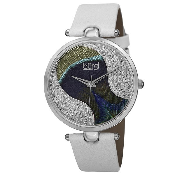 Burgi Women's Swiss Quartz Swarovski Crystals Colorful Dial Leather White Strap Watch. Opens flyout.