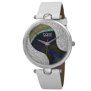 Burgi Women's Swiss Quartz Swarovski Crystals Colorful Dial Leather White Strap Watch with FREE Bangle