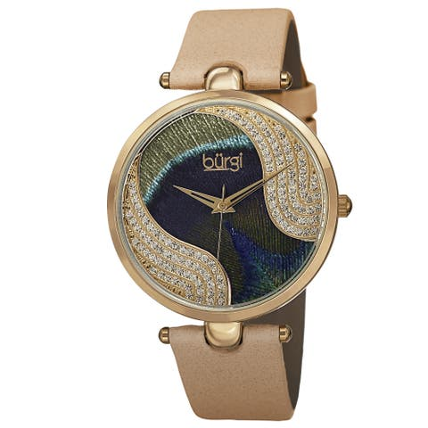 Burgi Women's Swiss Quartz Swarovski Crystals Colorful Dial Leather Gold-Tone Strap Watch