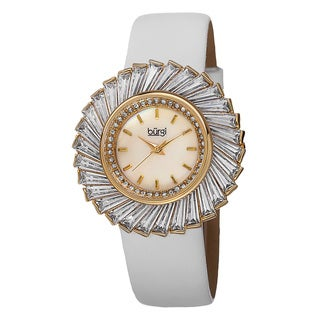 Burgi Women's Dazzling Swiss Quartz Mother of Pearl Dial Leather Gold-Tone Strap Watch