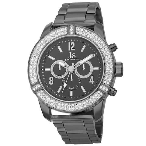 Joshua & Sons Men's Swiss Quartz Multifunction Crystal Bezel Black Bracelet Watch