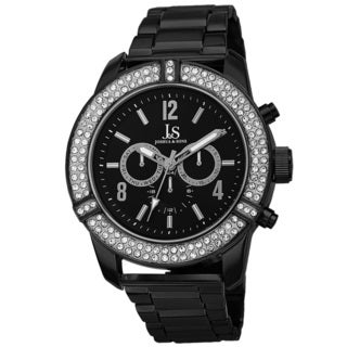 Joshua & Sons Men's Swiss Quartz Multifunction Crystal Bezel Black Bracelet Watch