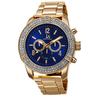 Joshua & Sons Men's Swiss Quartz Multifunction Crystal Bezel Blue Bracelet Watch