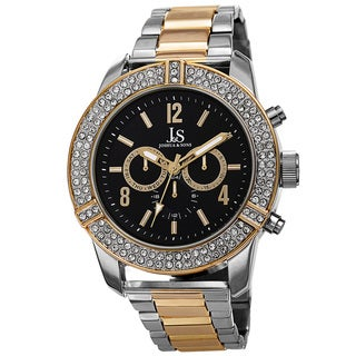 Joshua & Sons Men's Swiss Quartz Multifunction Crystal Bezel Two-Tone Bracelet Watch