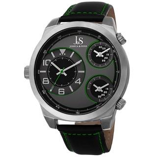 Joshua & Sons Men's Quartz Triple Time-Zone Leather Green Strap Watch (Option: Green)