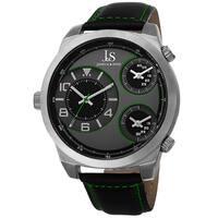 Joshua & Sons Men's Quartz Triple Time-Zone Leather Green Strap Watch