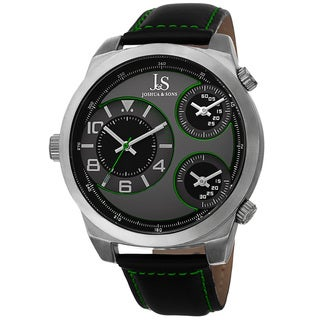 Joshua & Sons Men's Quartz Triple Time-Zone Leather Green Strap Watch