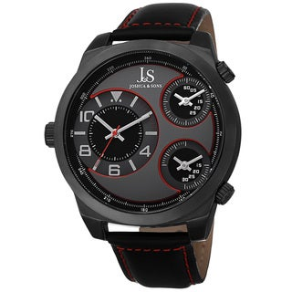 Joshua & Sons Men's Quartz Triple Time-Zone Leather Red Strap Watch