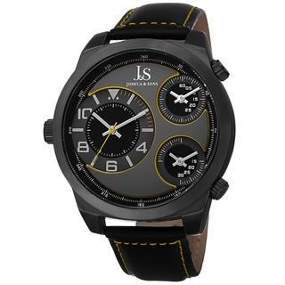 Joshua & Sons Men's Quartz Triple Time-Zone Leather Strap Watch