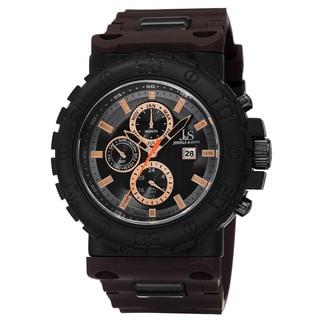 Joshua & Sons Men's Swiss Quartz Multifunction Dual-Time Brown Strap Watch