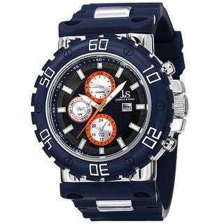 Joshua & Sons Men's Swiss Quartz Multifunction Dual-Time Blue Strap Watch