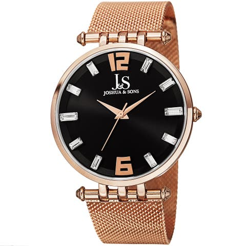 Joshua & Sons Men's Swiss Quartz Crystal-Accented Stainless Steel Mesh Rose-Tone Strap Watch