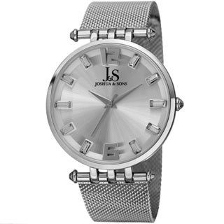 Joshua & Sons Men's Swiss Quartz Crystal-Accented Stainless Steel Mesh Silver-Tone Strap Watch