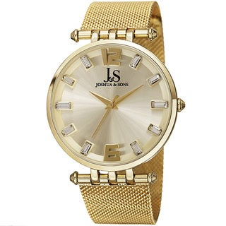 Joshua & Sons Men's Swiss Quartz Crystal-Accented Stainless Steel Mesh Gold-Tone Strap Watch