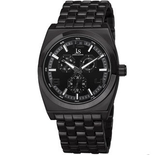 Joshua & Sons Men's Quartz Multifunction Alloy Black Bracelet Watch
