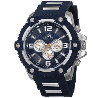 Joshua & Sons Men's Swiss Quartz Multifunction Dual-Time Sunray Dial Blue Strap Watch