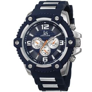 Joshua & Sons Men's Swiss Quartz Multifunction Dual-Time Sunray Dial Blue Strap Watch