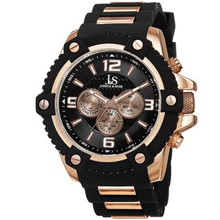 Joshua & Sons Men's Swiss Quartz Multifunction Dual-Time Sunray Dial Rose-Tone Strap Watch