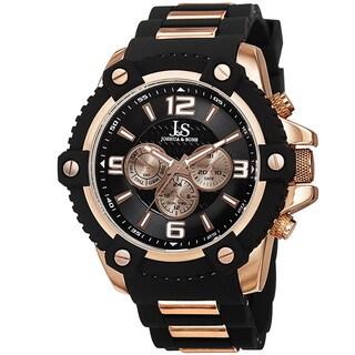 Joshua & Sons Men's Swiss Quartz Multifunction Dual-Time Sunray Dial Rose-Tone Strap Watch