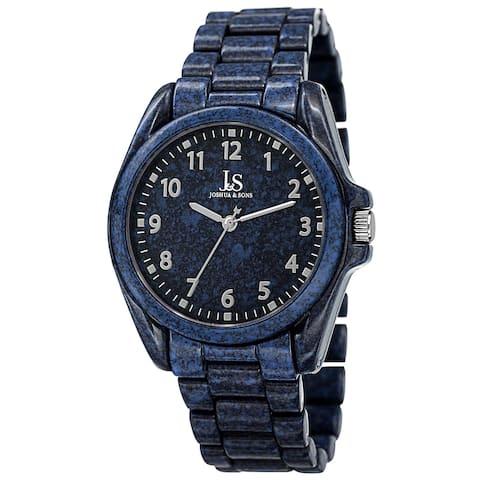 Joshua & Sons Men's Quartz Easy to Read Markers Spray Blue Bracelet Watch