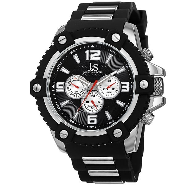 Joshua & Sons Men's Swiss Quartz Multifunction Dual-Time Sunray Dial Silver-Tone Strap Watch
