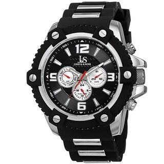 Joshua & Sons Men's Swiss Quartz Multifunction Dual-Time Sunray Dial Silver-Tone Strap Watch