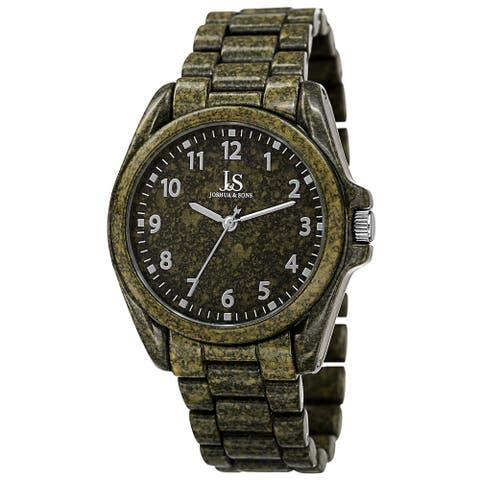 Joshua & Sons Men's Quartz Easy to Read Markers Spray Green Bracelet Watch