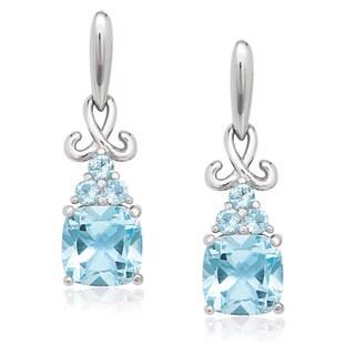 La Preciosa Sterling Silver Cushion-cut Blue and White Topaz Earrings