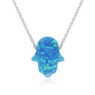 La Preciosa Sterling Silver Created Opal Hamsa Hand Necklace