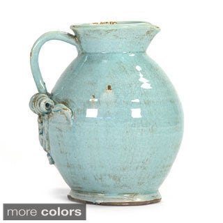 Rounded Ceramic Pitcher with Open Spout and Pulled Handle