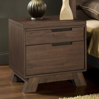 Asymmetrical Solid Wood Mid-century Style Nightstand